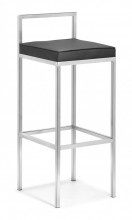 """The Arcelia barstool in Black has a clean, solid stance with an stainless steel frame and leatherette cushion. *Set of two per purchase*        Length: 14""""    Depth: 14""""    Height: 35.4""""    Seat Height: 30""""    Seat Depth: 13.5""""   $460.00"""