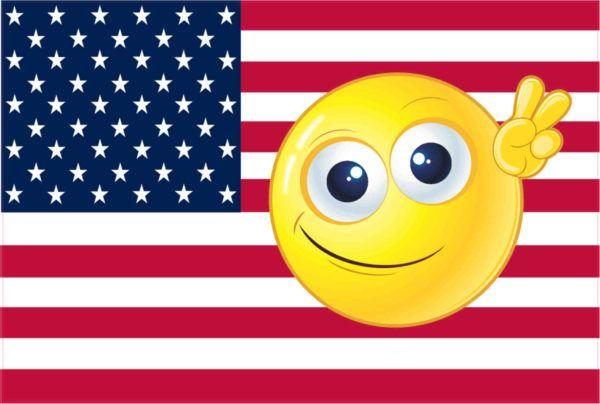 Emoji American Flag Sticker