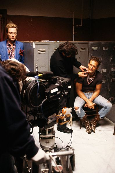American actors Christopher Walken and Mickey Rourke on the set of the film Homeboy directed by Michael Seresin
