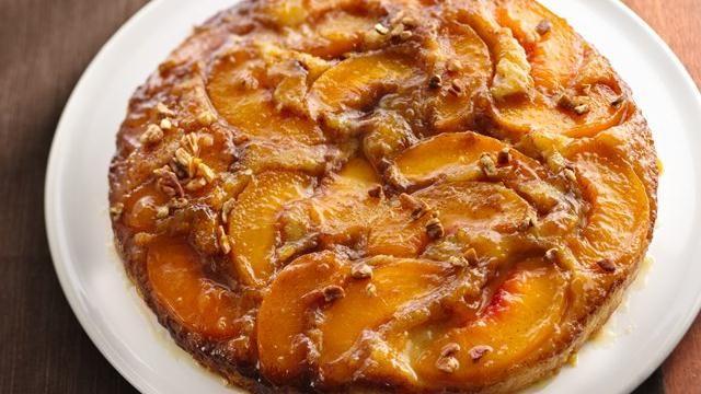 Carmelized Peach Upside-Down Coffee CakeCookies Dough, Peaches Cake, Peaches Coffee Cake, Coffee Cakes, Peaches Upside Down, Upside Down Coffee, Caramel Peaches, Peaches Upsidedown, Upside Down Cake