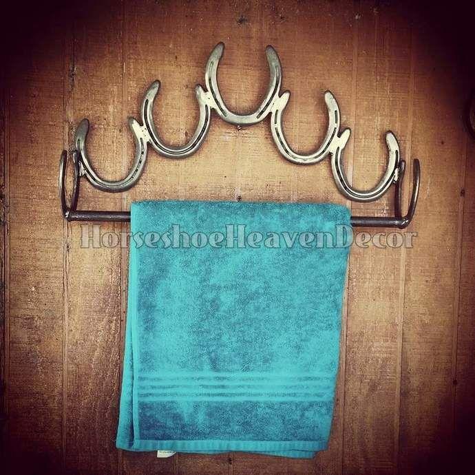 Bathroom Towel Holder, Rustic Horseshoe Bathroom Accessories, Rustic Decor, Bathroom Decor, Handmade Decor, Rustic Decor, Handmade Horseshoe by KadyKustomKrafts , $58.49 USD