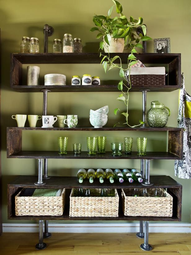 Add industrial-chic open storage to a space with plumbing supplies and basic lumber>> http://hg.tv/on0r: Kitchens Shelves, Open Shelves, Plumbing Supplies, Diy Furniture, Open Storage, Pipes Shelves, Open Kitchens, Design Style, Shelves United