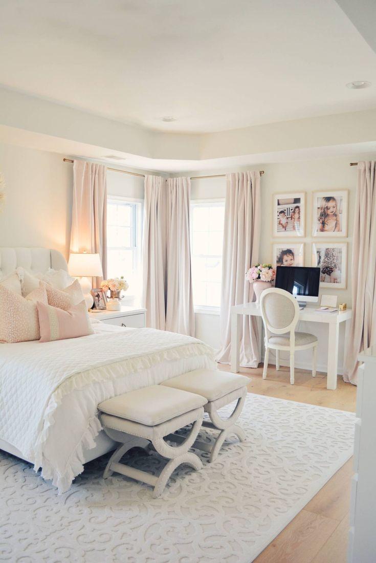 Elegant White Master Bedroom & Blush Decorative Pillows