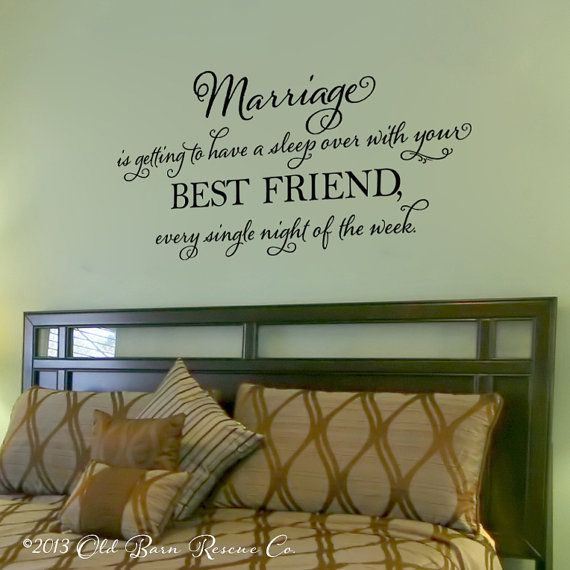 Marriage is getting to have a sleep over vinyl wall decal master bedroom vinyl lettering wall s