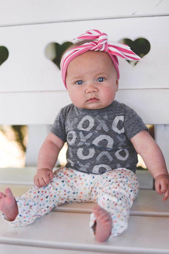 Hipster moderne biologiques pour bébés Toddler arc-en-ciel Pastel rose saupoudrer Triangle noué bandeau Turban cheveux accessoire