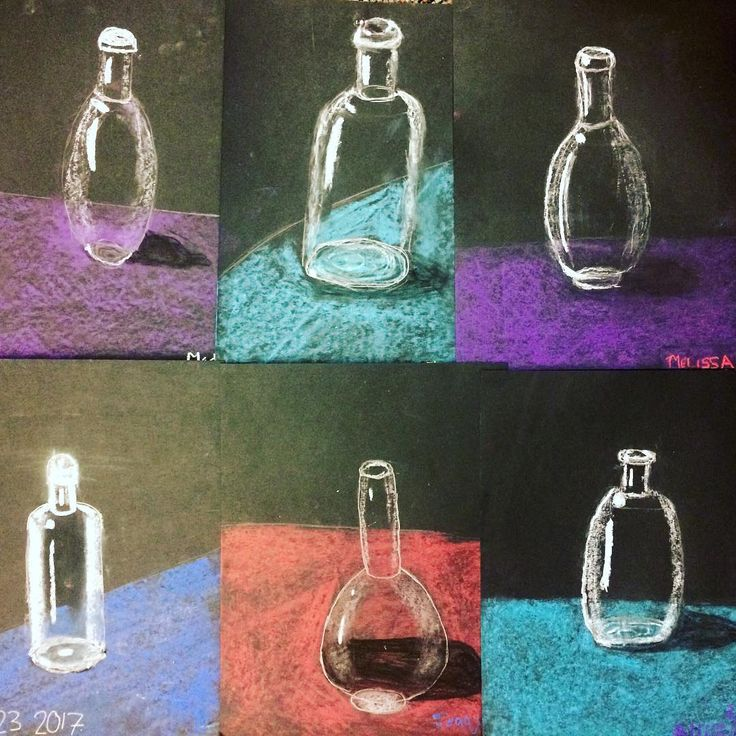 5th Grade glass bottles - great way to work through the concept of highlights.