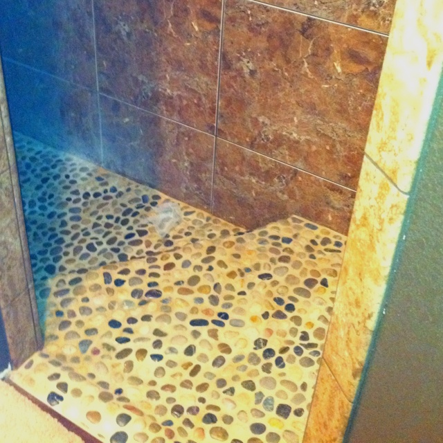 Very Nice Shower No Door Pebble Step Down For The