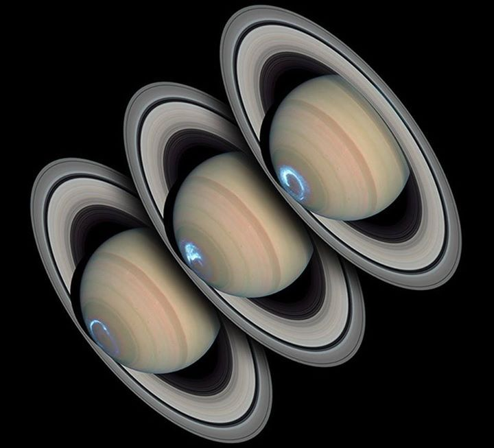 Are Saturn's auroras like Earth's? To help answer this question the Hubble Space Telescope and the Cassini spacecraft monitored Saturn's South Pole simultaneously as Cassini closed in on the gas giant in January 2004. Hubble snapped images in ultraviolet light while Cassini recorded radio emissions and monitored the solar wind. Like on Earth Saturn's auroras make total or partial rings around magnetic poles. Unlike on Earth however Saturn's auroras persist for days as opposed to only minutes…