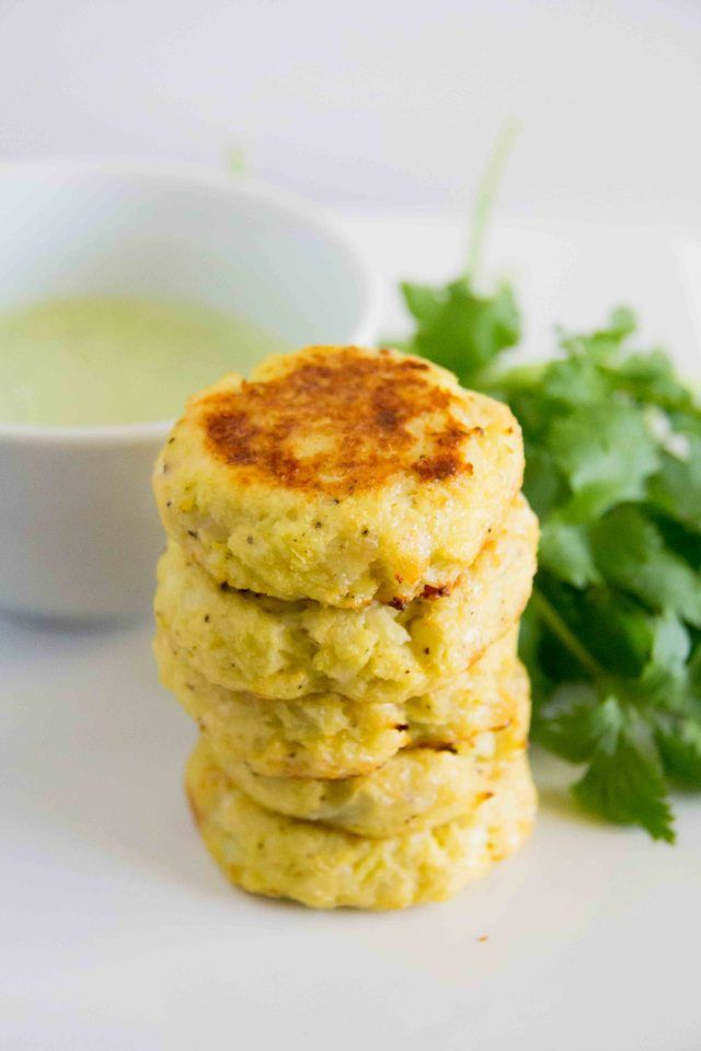 Mini Baked Cauliflower Cakes with Creamy Cilantro Dipping Sauce | # ...