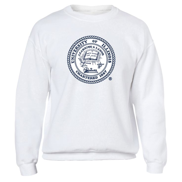 University of Illinois seal, large, on chest Front picture Illinois Fighting Illini fan. This t-shirt is a wonderful gift for you, your father, brother, sister, mother, grandfather, grandmother, aunt, uncle, fire boy, niece for parties, birthday, Father's Day, Thanksgiving, Christmas, New Year
