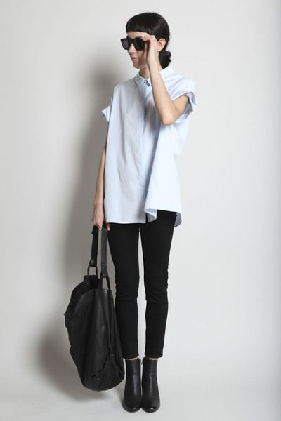 Black n light blue: Black N White, Basic, Light Blue Shirts, Simple, Minimal Style, Outfit, Style Design, Black Lights
