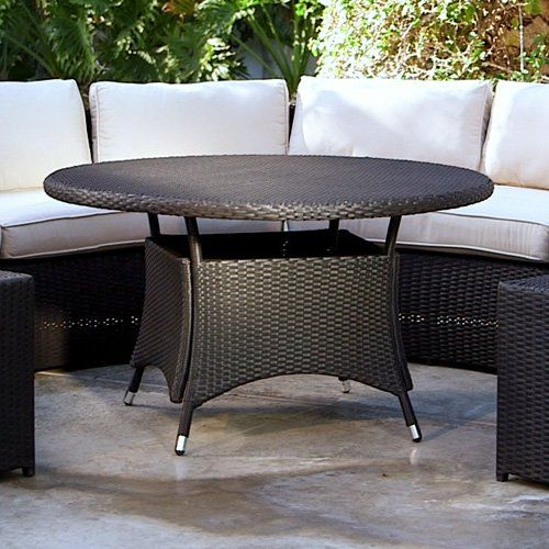 Belham Living Meridian All-Weather Wicker Round Outdoor Patio Dining Table - Gather around the  Belham Living Meridian All-Weather Wicker Round Outdoor Patio Dining Table . Crafted with an aluminum frame wrapped in all-weather...