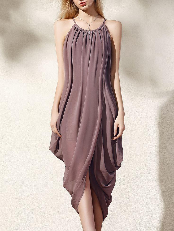 Asymmetric Round Neck Loose Fitting Dress KHAKI: Dresses 2016 | ZAFUL