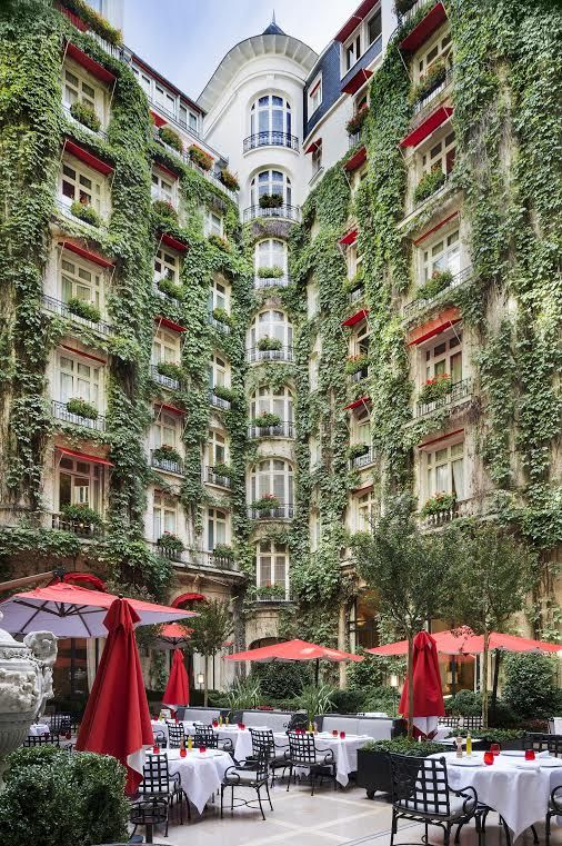 Hanging out in the courtyard of the Plaza Athénée
