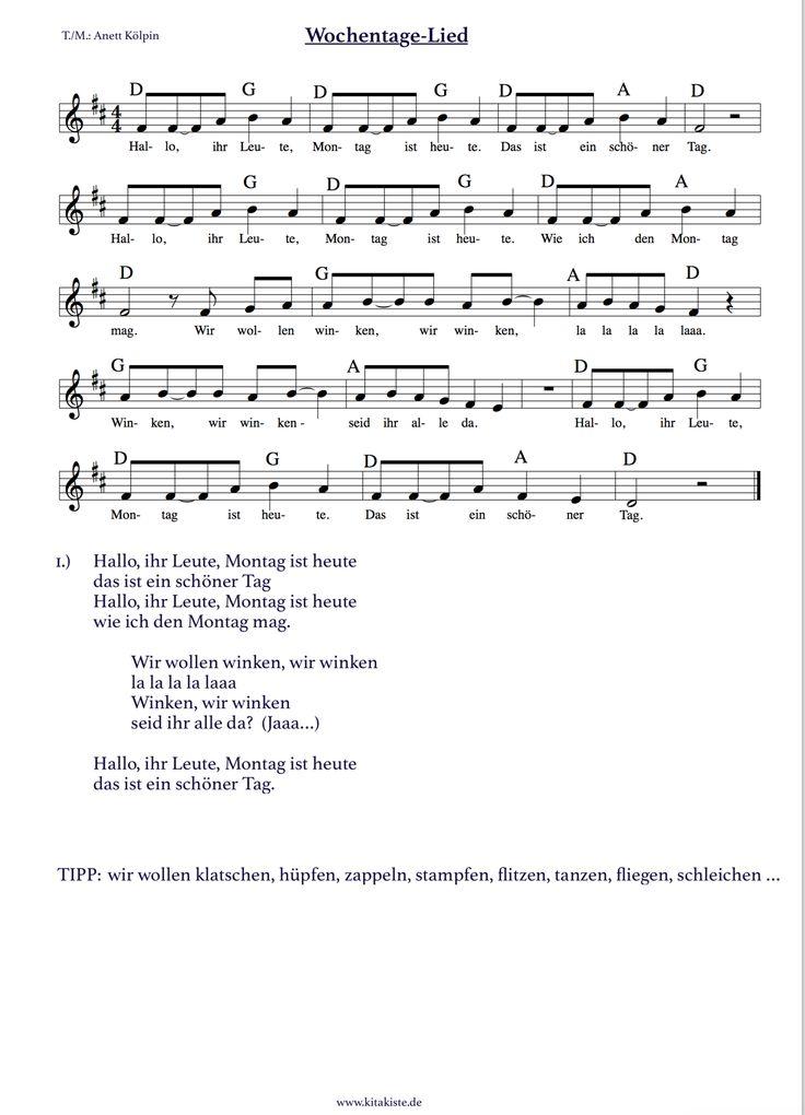 """Wochentage-Lied - jeden Tag eine andere Aktion in der Mitte - kombiniert dieses Lied mit unserem Fingerspiel """"Die Woche"""" und lernt so spielerisch die Wochentage - besucht uns auf www.kitakiste.jimdo.com / Facebook: Kita-Kiste für Erzieher"""
