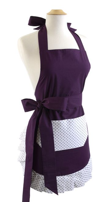Flirty Aprons Womens Apron Original Paris Plum $36.95 AT vintagedancer.com