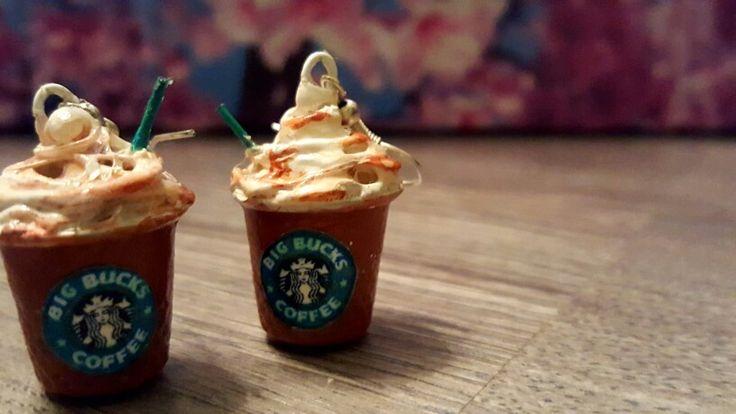 Серьги Starbucks своими руками.