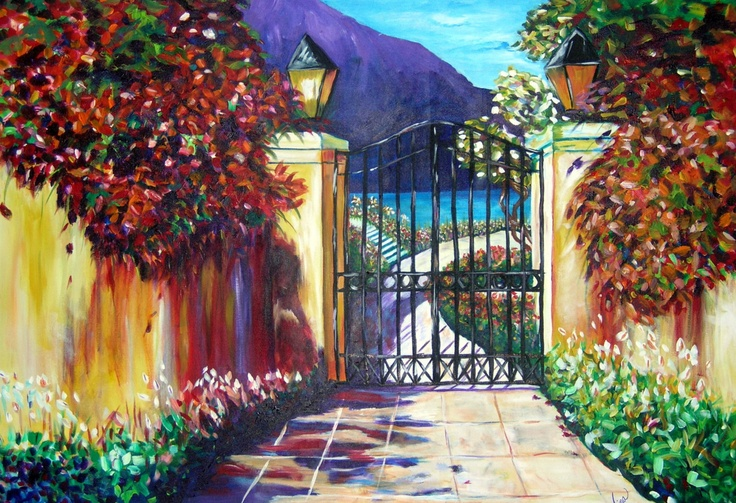 painting flowers with mountains - Google Search