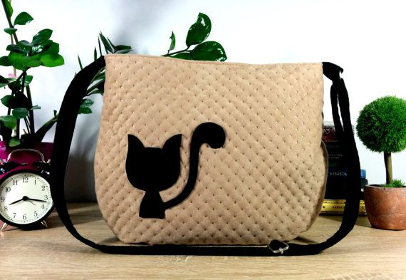 Handbag Women bag Bag with cat Cat bag Hobo bag by Torebeczkowo, #Handbag #Womenbag , #catbag