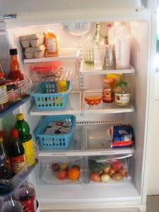How to share your refrigerator with a roommate. Me & Brianna wouldn't need this though.