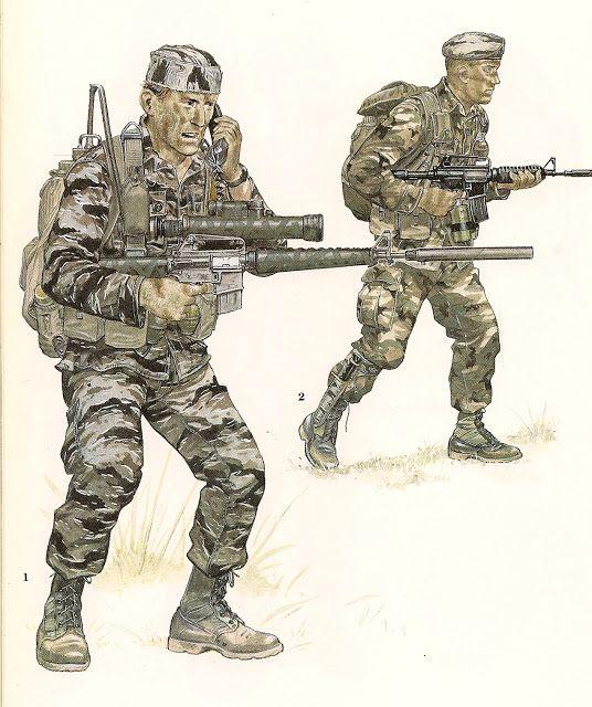MINIATURAS MILITARES POR ALFONS CÀNOVAS: Vietnam, Uniformes USA. EN 1962-1975, fuente =Biblioteca Militar de Barcelona