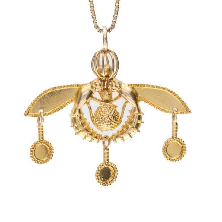 14K yellow gold Minoan honeybees pendant. Well-made with brushed & textured detailing, 3 circular dangles with gold twists complete with a sturdy bale and a high polish finish, this lovely pendant would be the perfect addition to your collection!