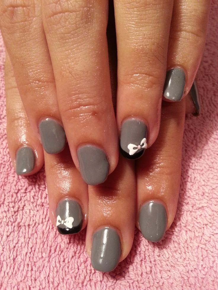 U as decoradas con esmalte permanente gris y lacitos - Unas decoradas con esmalte ...