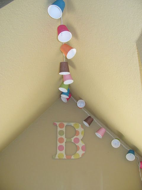 DIY & Crafts: Dixie Cup Lights: white cord LED lights, scrapbook paper, tacky glue and package of white dixie cups.