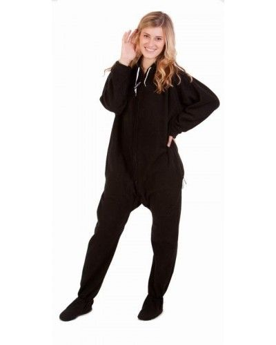 Black to Sleep Footed One Piece Sleepwear Footie Mens PJs, Womens Adult Onesies