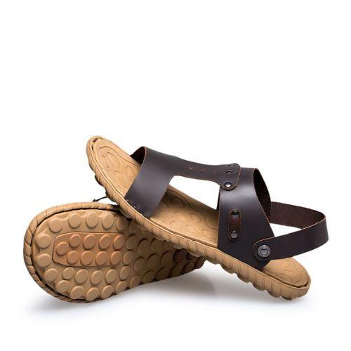 Mens-Full-grain-Leather-Sandals-Flip-Flops-Summer-Open-Toe-Sports-Beach-Sandals