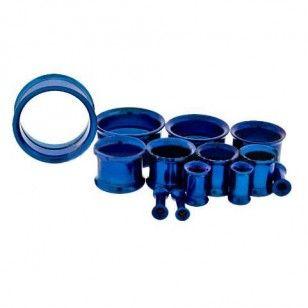 Dark Blue Anodized Steel Double Flare Tunnel Internally Threaded - Sold as A Pair #plugs #gauge #piercing #tunnel #flare #wickedbodyjewelz