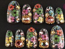 2015 New 12 couleur décoration vraie fleur à sec pour UV Gel acrylique Nail Art conseils(China (Mainland))