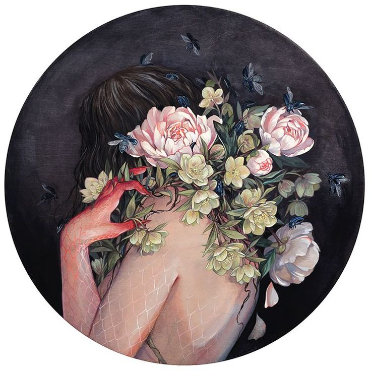 "stephanie brown: ""Nymph (Hellebore)"" is 24"" round maple panel, watercolor, and gouache."