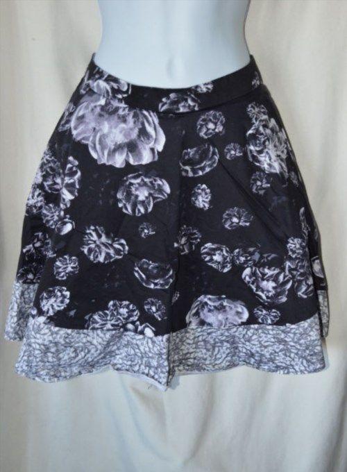 17.27$  Watch now - http://vicwf.justgood.pw/vig/item.php?t=1gkyyhy21385 - Prabal Gurung Womens 8 Black Gray Flower Print Knee Length Skirt Flirty Lined 17.27$