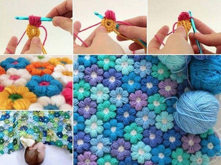 Вязание Крючком Слоеного Цветок Одеяло Шаблон Бесплатно