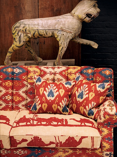 A caravan of camels. Timbuktu is the fabric pattern - sold by the yard.