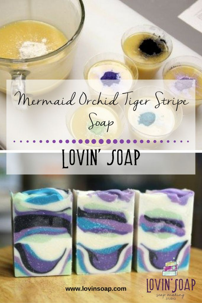 Mermaid Orchid Tiger Stripe Soap -  Soap | Handmade Soap | DIY Soap | Soap Making | Soapmaking | Learn to make soap | Natural Soap | Soap Recipe | Soap Tutorial