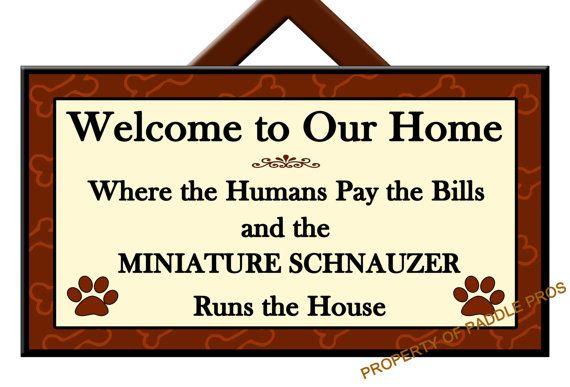 MINIATURE SCHNAUZER Runs the House - Welcome Sign - Dog Plaque - Home Decor - Gift Idea - Art - Dog Sign