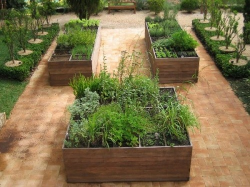 raised beds with brick pavers