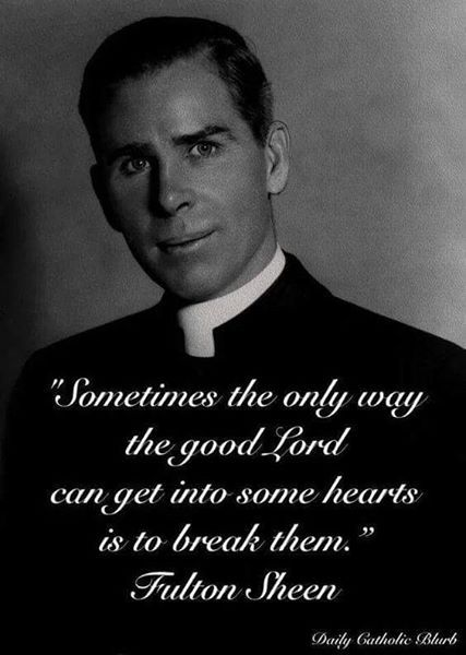 Bishop Sheen. Yes, I agree. Like pain is God's megaphone to a deaf world.