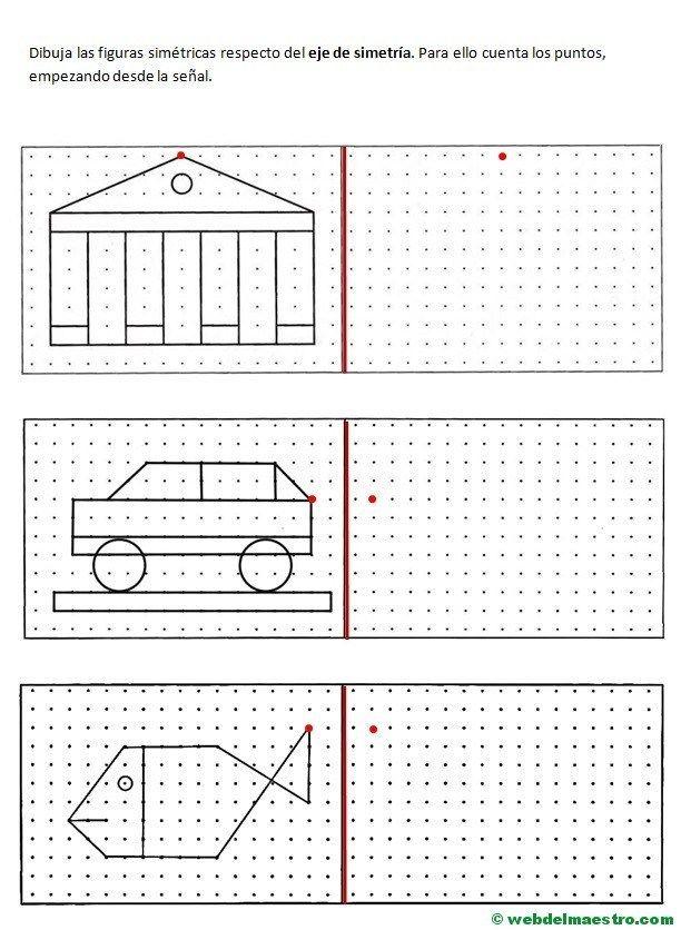 Simetría para niños de primaria Ejercicios de simetría Hojas de cálculo y Web del maestro