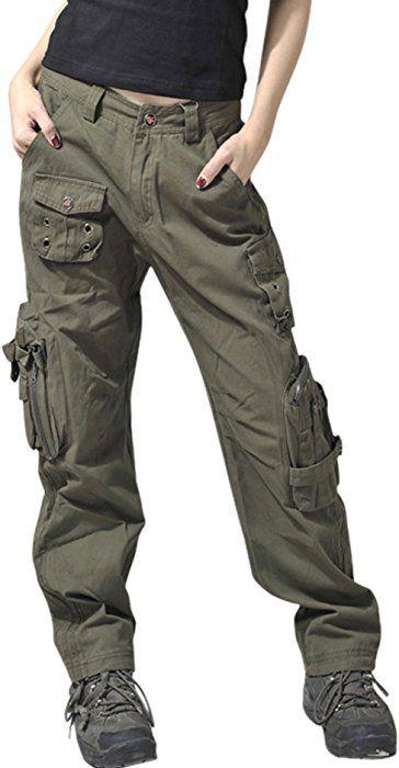 a5314479380 Chouyatou Women s Active Loose Fit Military Multi-Pockets Wild Cargo Pants  (Medium