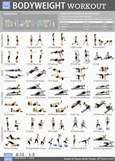 No equipment? No problem! Body-weight exercises are an indispensable part of any fitness routine, whether you are working out at home, in a apartment, hotel gym, or local gym. Our Bodyweight Workout P