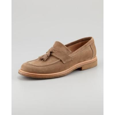 $895, Suede Tassel Loafer Tan by Brunello Cucinelli. Sold by Neiman Marcus.  Click