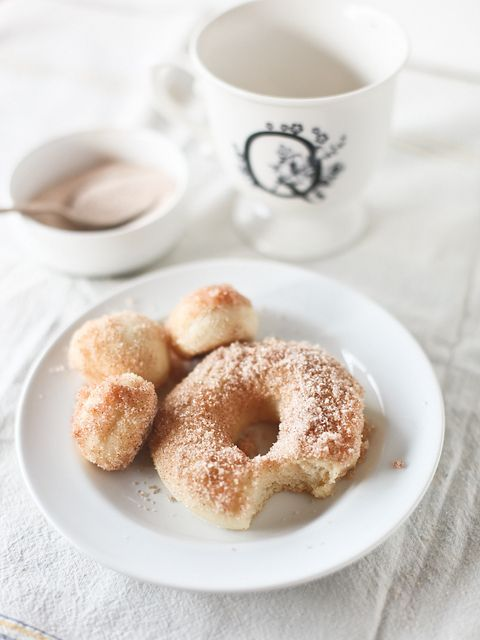 Baked Cinnamon Sugar Doughnuts. Seems too good to be true, but it can be done! Sub Eggs with vegan egg replacer such as Ener-g, sub milk with vegan milk of choice ( coconut milk might be extra delicious, or vanilla flavored soy even ) & lastly sub butter with vegan margarine/veg spread of choice, I always use Earth Balance.