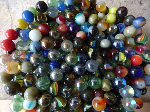 20 Vintage Glass Marbles Grab Bag Variety Solid Swirl Iridescent Art Craft Collectible Supplies Glass Marbles Marble Marble Art