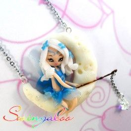 Swingaloos are romantic fairies on a swing, dangling on the chain of the necklace. These jewels are completely handmade, 100% Made in Italy with high quality materials. The moon of this necklace glows in the dark, and the lil' star hanging on the fish rod is a real Swarovski crystal! Find it on www.Delicute.com