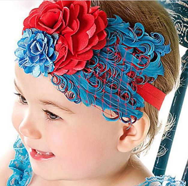 Little Girls Red and Blue Feather Headband feather Pad 4th of July Patriotic Baby Girls Headband Infant Toddler Headbands by BabyGirlTutus on Etsy