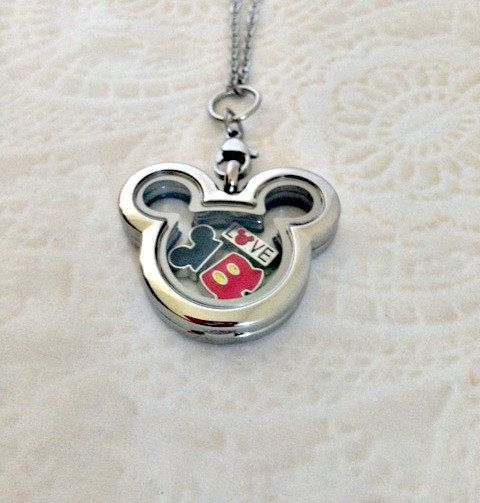 Mickey Minnie Inspired Glass Locket w/ 5 Mouse Part Floating Charms & Sterling…