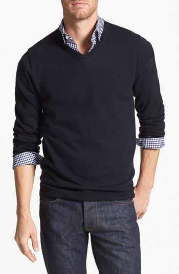 Wallin & Bros. Trim Fit V-Neck Cotton & Cashmere Sweater available at #Nordstrom